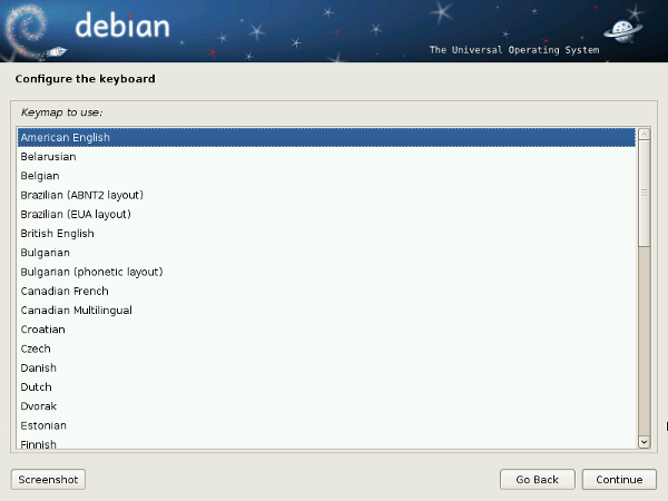 Debian 6 Installer Configure the Keyboard