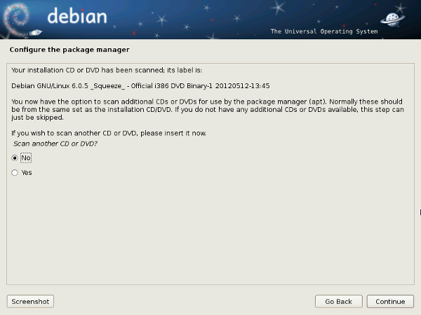 Debian 6 Installer Insert Additional Package Media