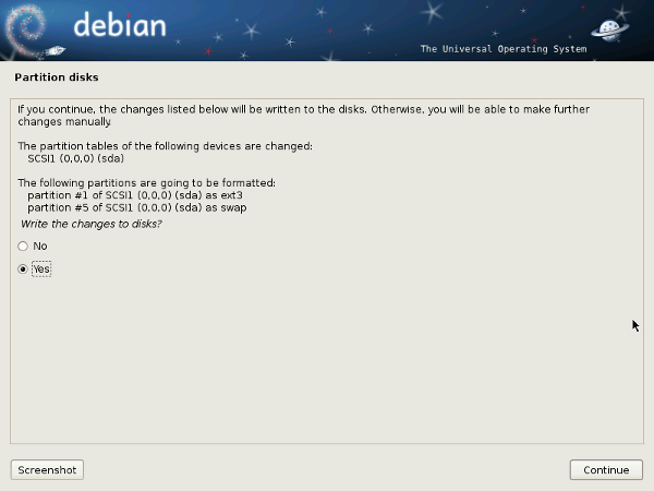 Debian 6 Installer Write Partition Change